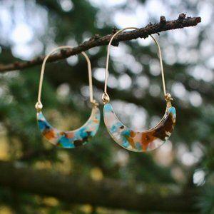 Anthropologie Acetate Resin Crescent Hoop Earrings